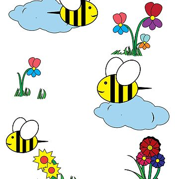 Cute Cartoon bees and flowers colorful kids shirt by handcraftline