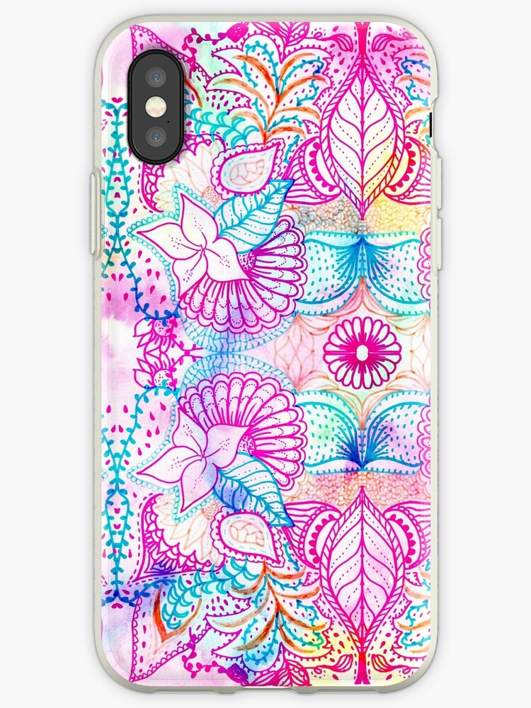 Bright psychedelic pink blue floral doodle pattern by GirlyTrend