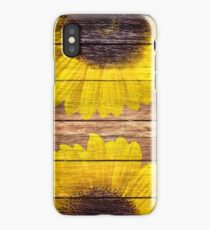 Yellow Sunflowers Rustic Vintage Brown Wood iPhone Case