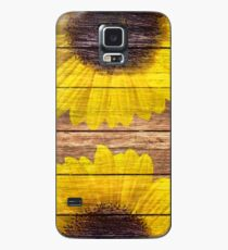 Funda/vinilo para Samsung Galaxy Yellow Sunflowers Rustic Vintage Brown Wood