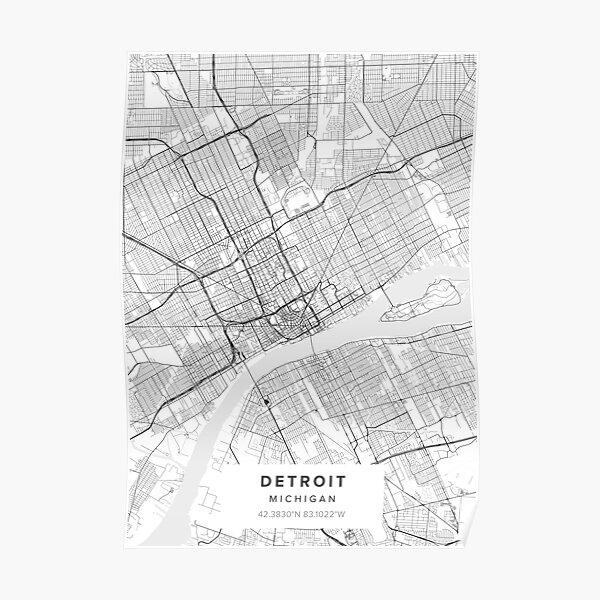 Detroit MI Map Poster