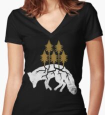 Dying Fox Women's Fitted V-Neck T-Shirt