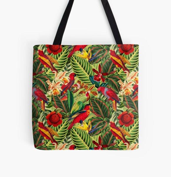 Vintage Tropical Bird Jungle Garden All Over Print Tote Bag