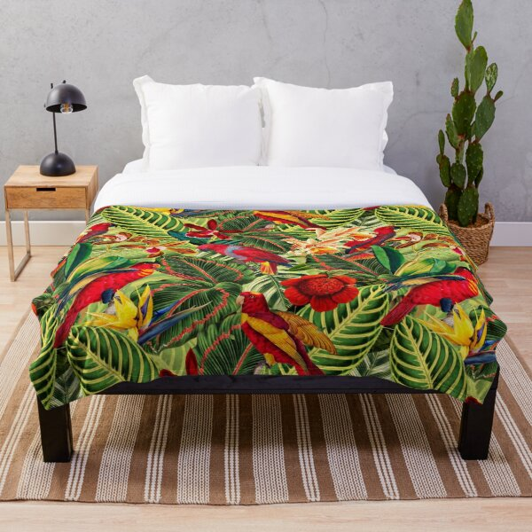 Vintage Tropical Bird Jungle Garden Throw Blanket