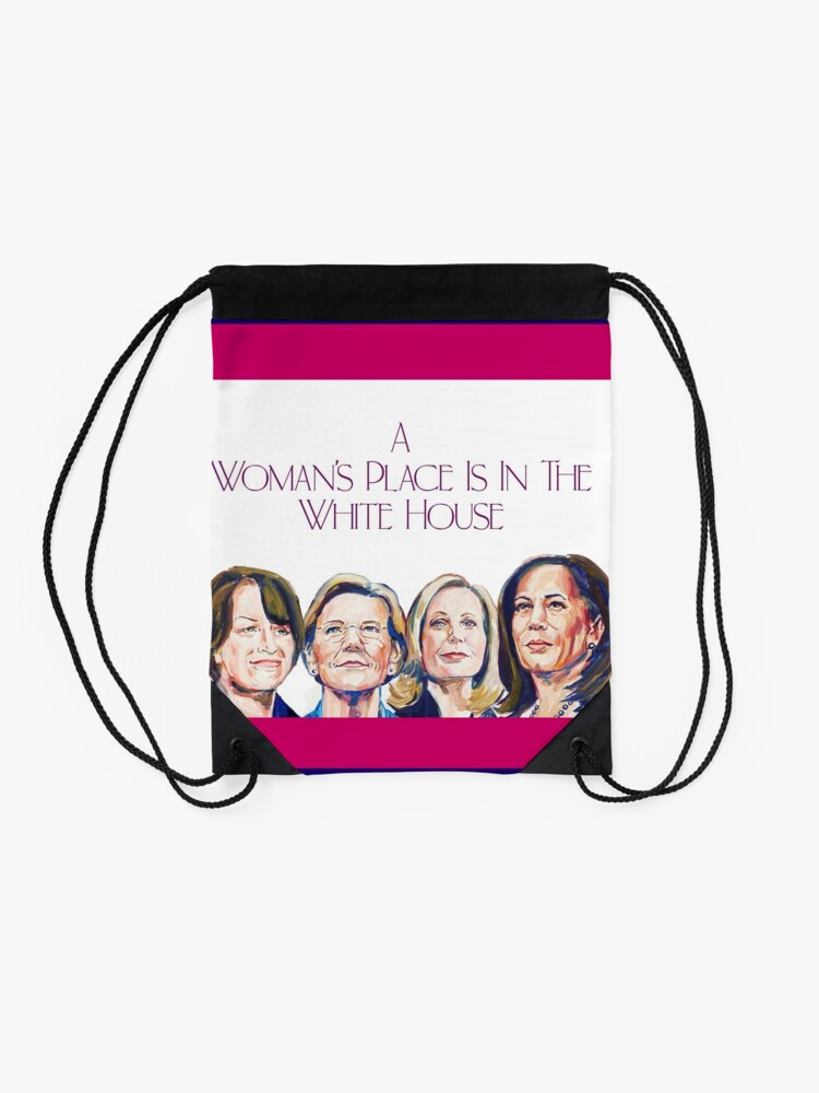 Alternate view of A Woman's Place (with Border) Drawstring Bag