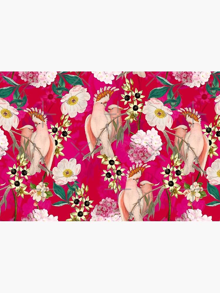 Vintage Tropical Bird Jungle Garden Pink by UtArt