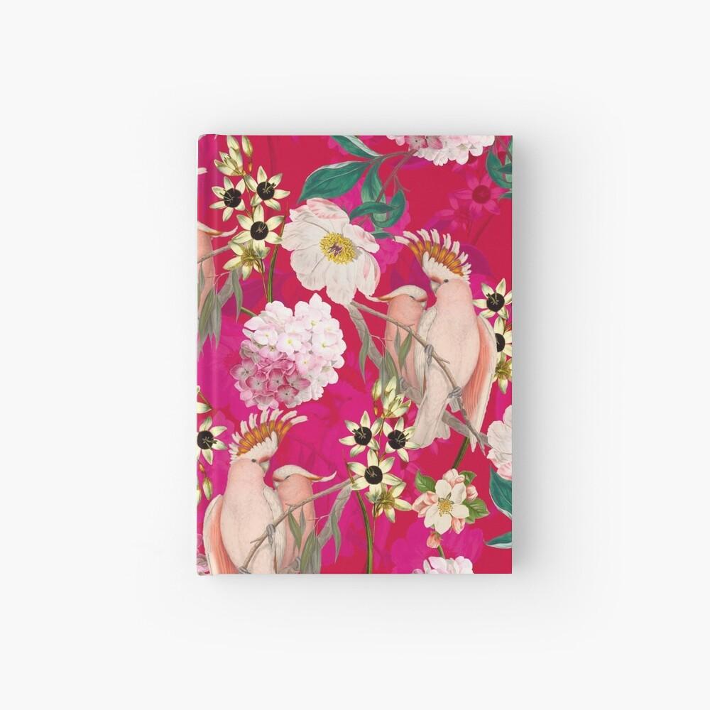 Vintage Tropical Bird Jungle Garden Pink Hardcover Journal