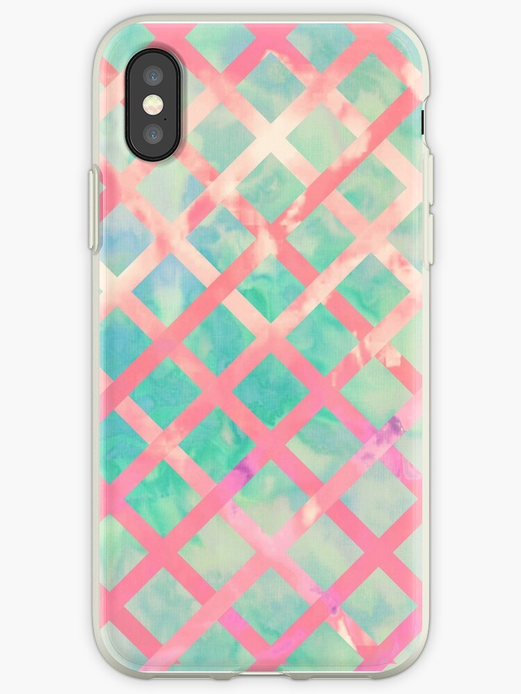 Girly Retro Turquoise Pink Watercolor Lattice by GirlyTrend