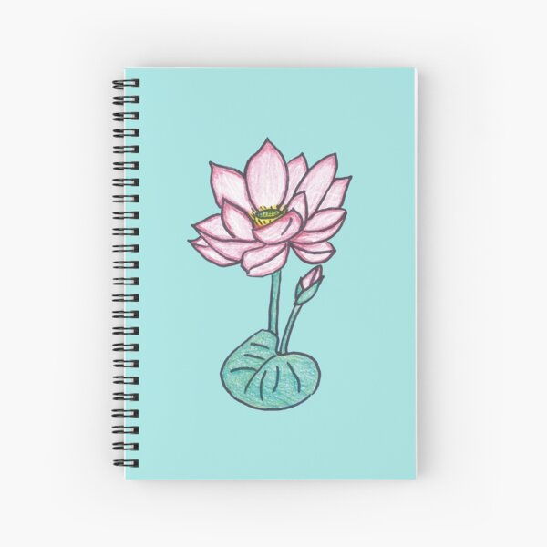 Beautiful Hand Drawn Lotus Flower on Lily Spiral Notebook