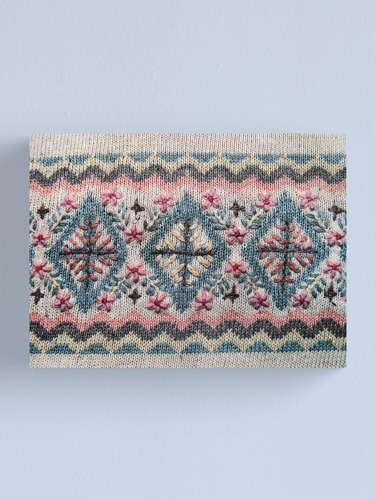 Alternate view of Detail of Scandinavian Sweater Design Canvas Print