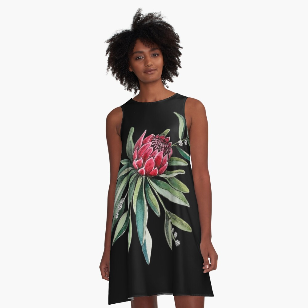 Protea watercolor A-Line Dress