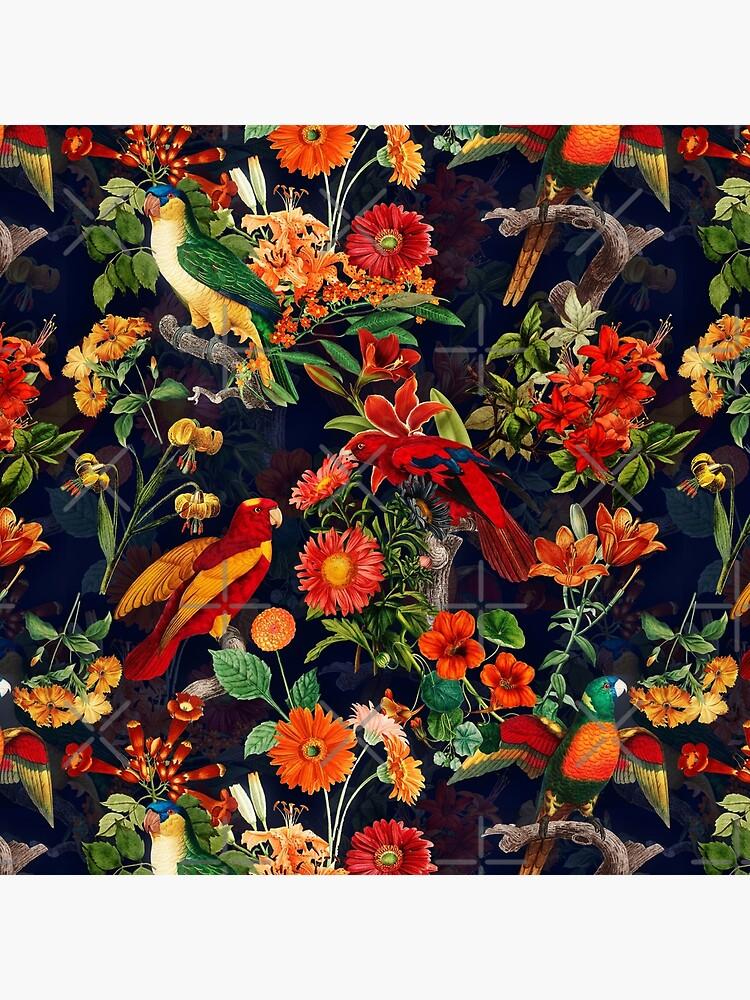 Vintage Tropical Bird  Night Jungle Garden dark blue by UtArt
