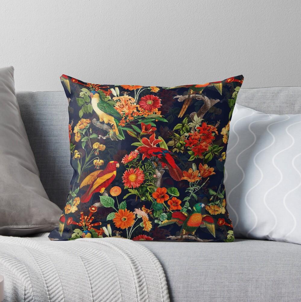 Vintage Tropical Bird  Night Jungle Garden dark blue Throw Pillow