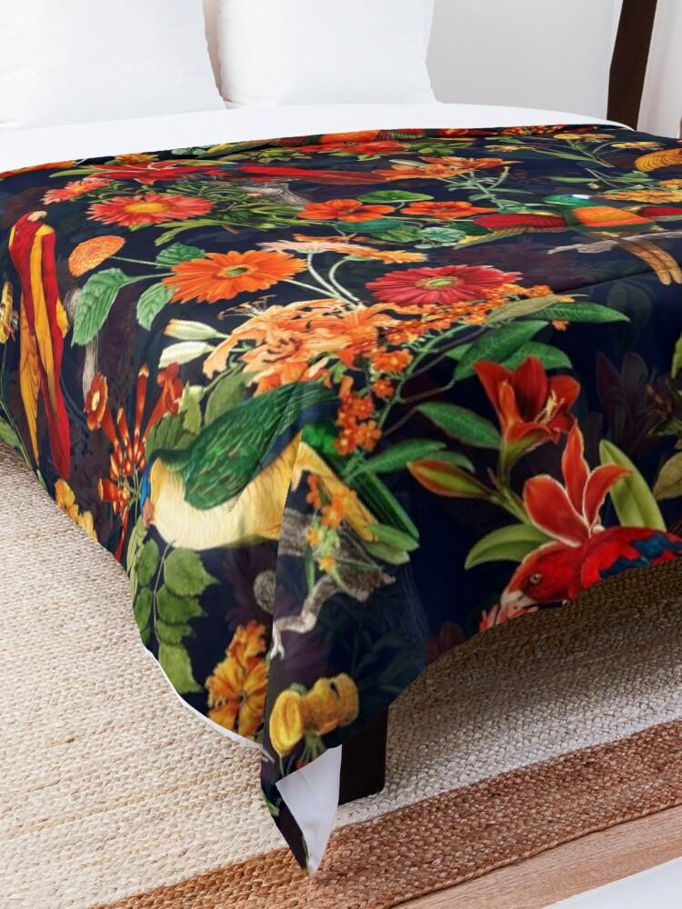 Alternate view of Vintage Tropical Bird  Night Jungle Garden dark blue Comforter