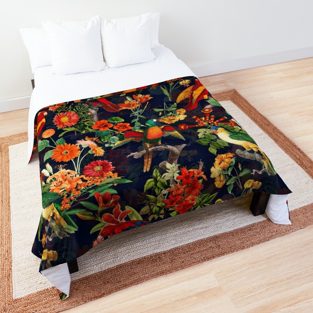 Vintage Tropical Bird  Night Jungle Garden dark blue Comforter