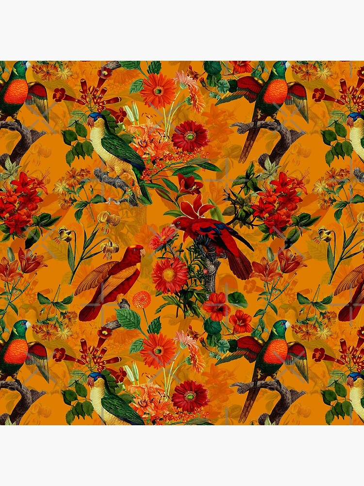 Vintage Tropical Bird Jungle Garden orange by UtArt