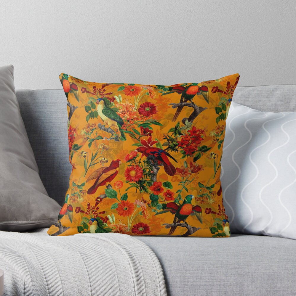 Vintage Tropical Bird Jungle Garden orange Throw Pillow