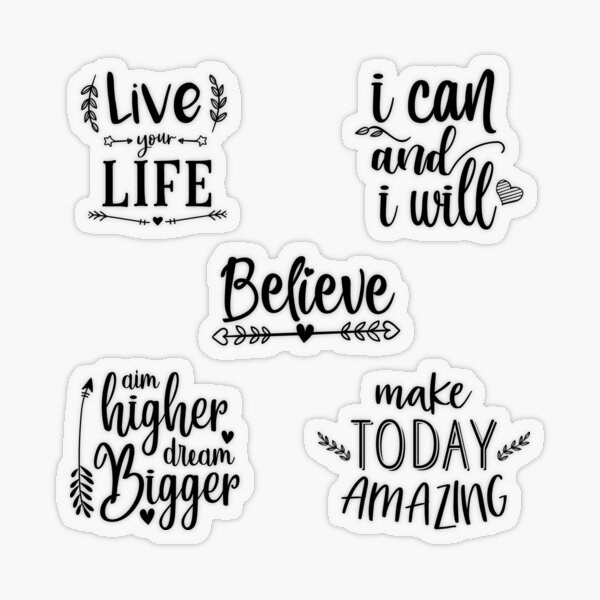 Quotes To Live By – Multi Design Set Transparent Sticker
