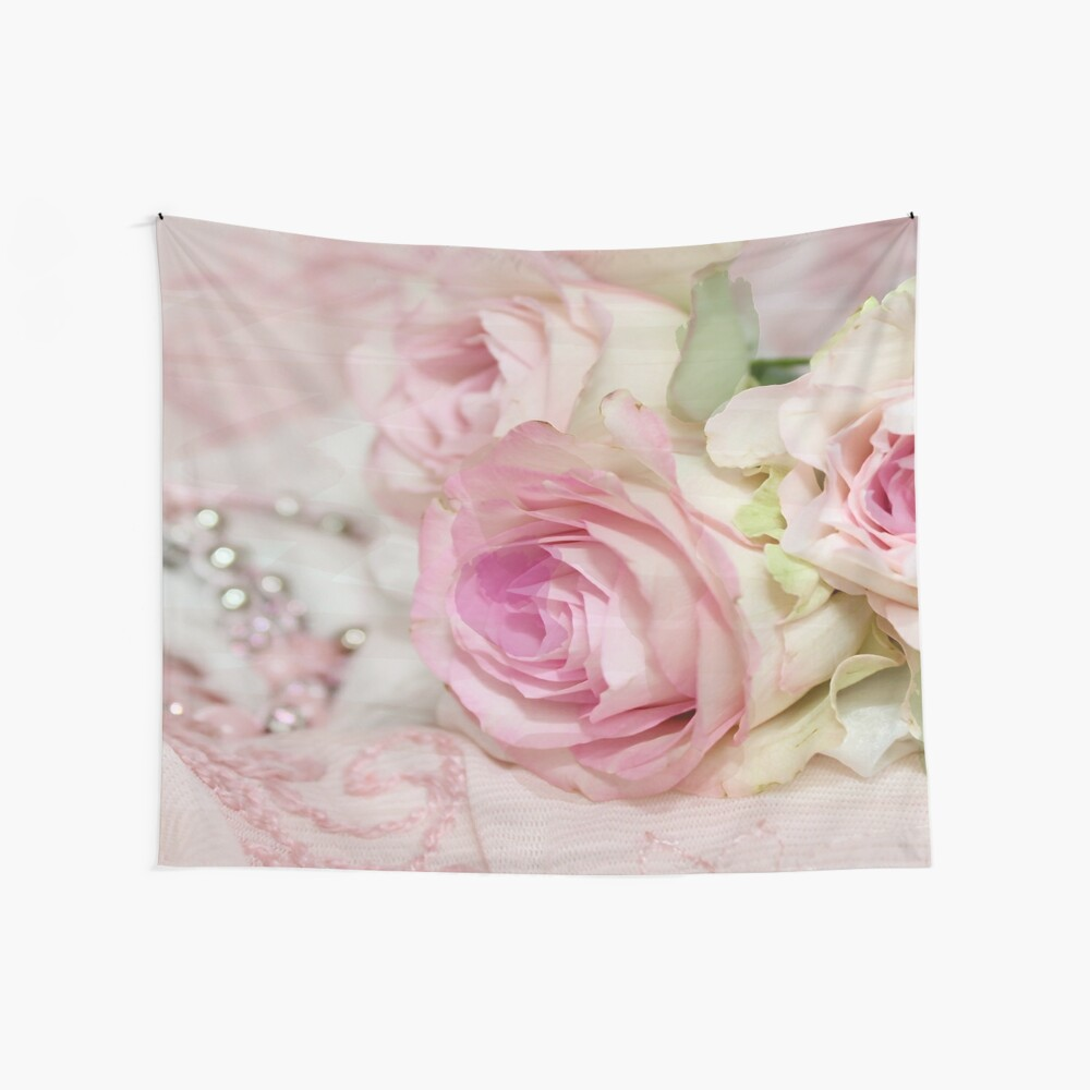 Vintage Pink Floral Rose with Pearls Print by xpressio