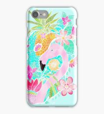 Tropical summer watercolor flamingo floral pineapple iPhone Case/Skin