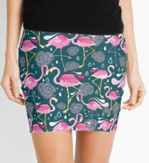 pattern with flamingos  Mini Skirt
