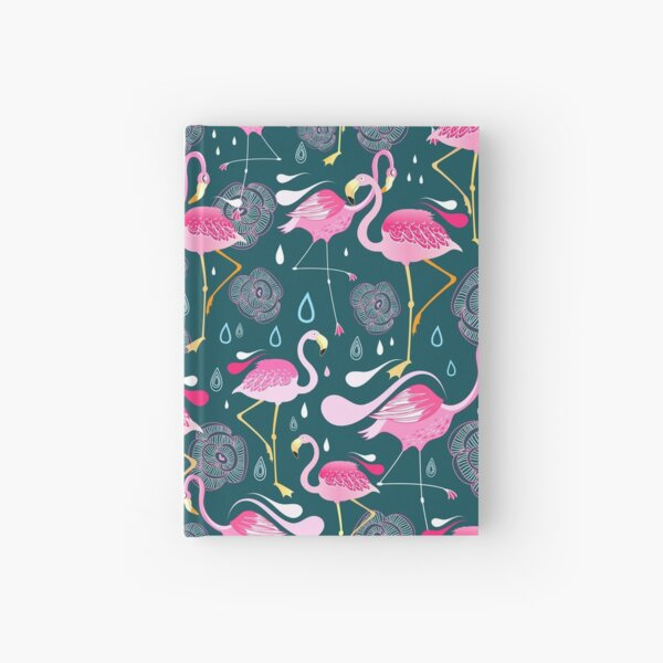 pattern with flamingos  Hardcover Journal