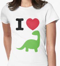 I heart dinosaur (brachiosaurus) Women's Fitted T-Shirt