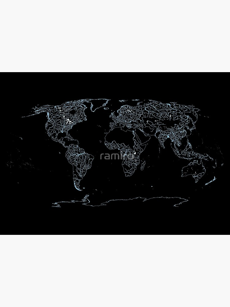 World Map of Large Rivers, Lakes and Coast Lines - Dark Background by ramiro