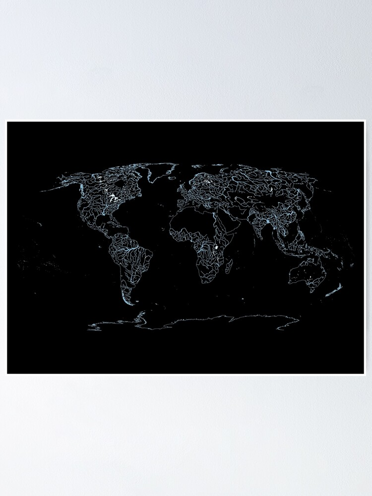 Alternate view of World Map of Large Rivers, Lakes and Coast Lines - Dark Background Poster