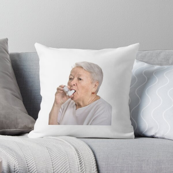 Old Lady with Inhaler Throw Pillow