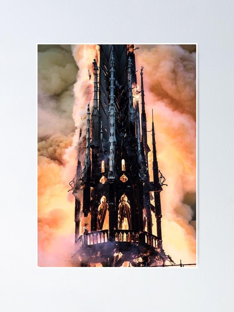 Alternate view of Notre-Dame de Paris in Fire #NotreDameinParis #NotreDamedeParis #NotreDame #NotreDameFire Poster
