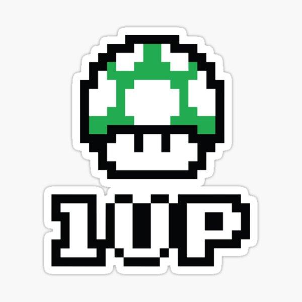 8 Bit 1up Mushroom Sticker By Medamerch Redbubble