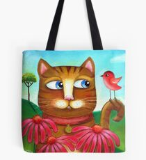 Cat in the Echinacea  Tote Bag