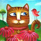 Cat in the Echinacea  by Lana Wynne
