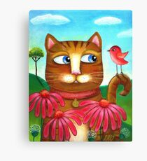 Cat in the Echinacea  Canvas Print
