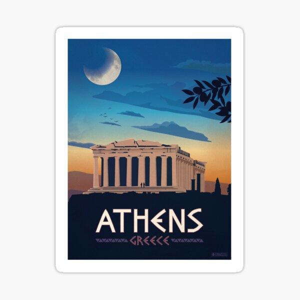 Vintage Athens Greece Travel Poster Sticker