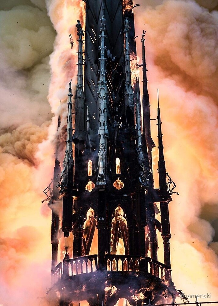 Fire at Notre Dame Cathedral in Paris by znamenski