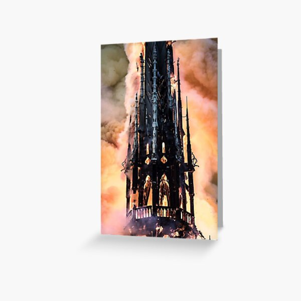 Fire at Notre Dame Cathedral in Paris Greeting Card