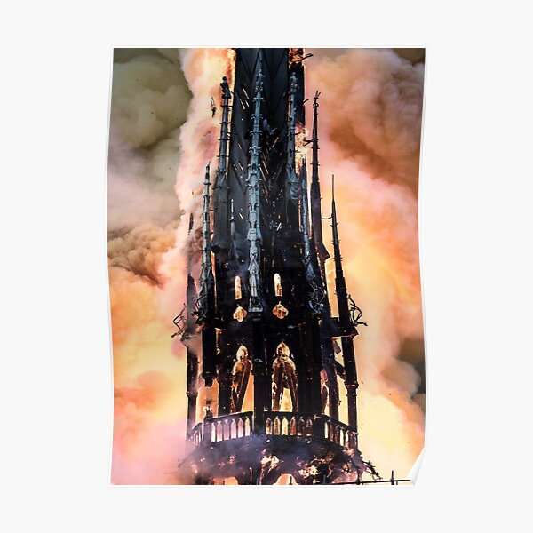 Fire at Notre Dame Cathedral in Paris Poster