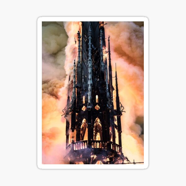 Fire at Notre Dame Cathedral in Paris Sticker