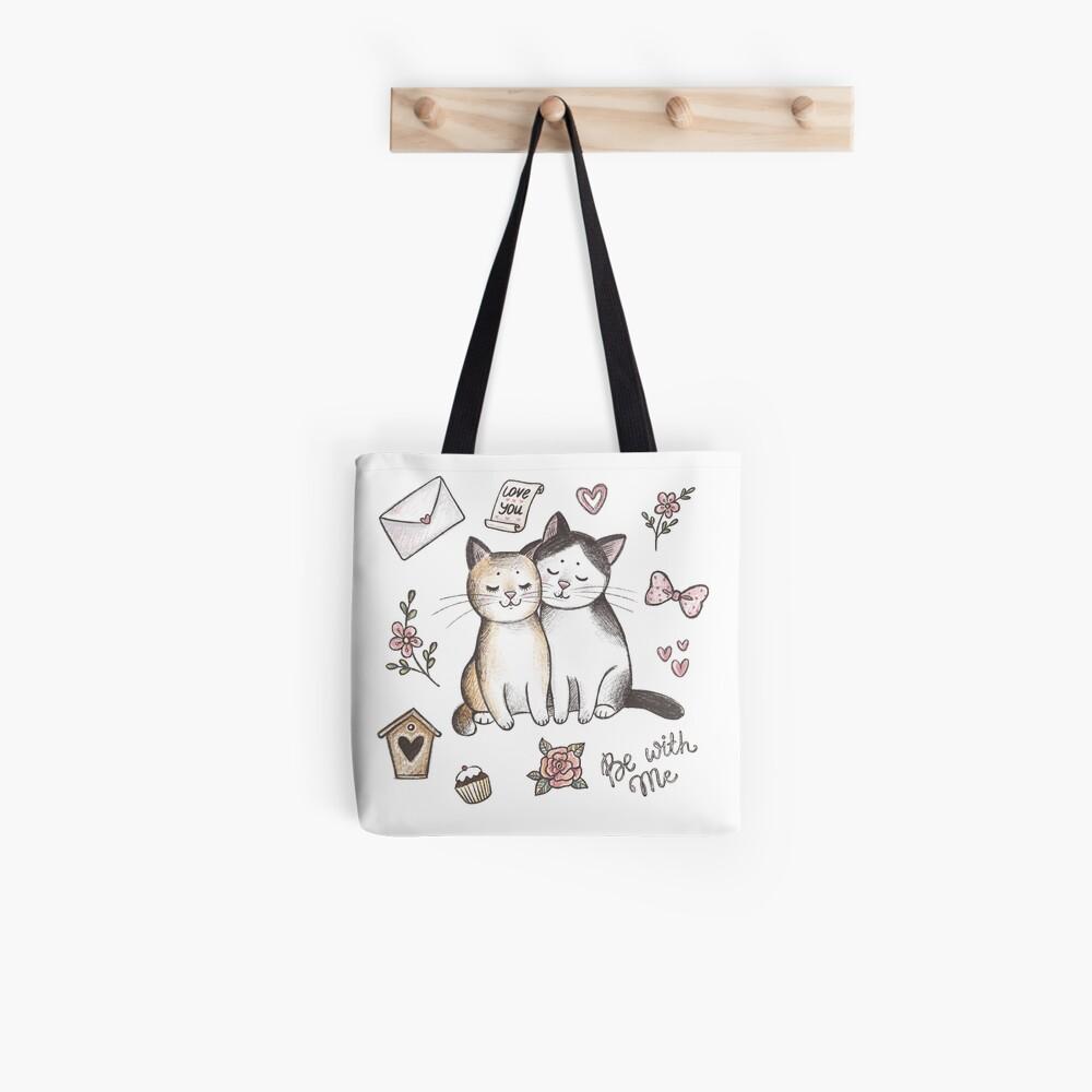 Gatos enamorados Bolsa de tela