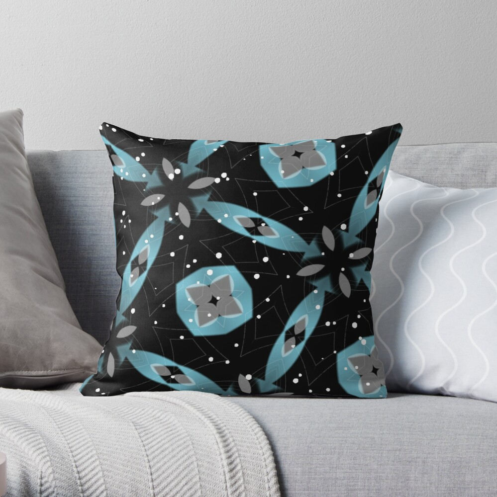Blue Ribbons Under A Starlit Sky Throw Pillow