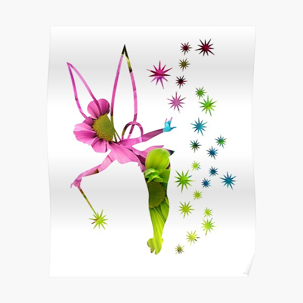 Floral Tinkerbell Poster