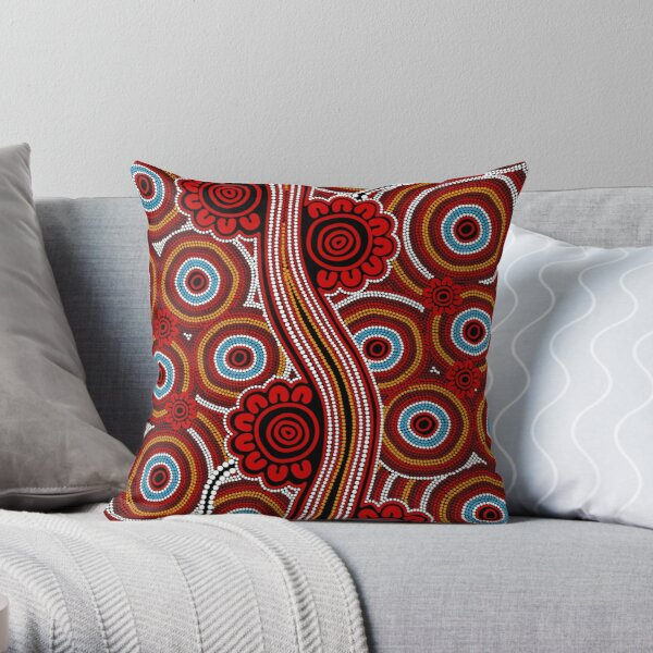 Authentic Aboriginal Art - Untitled Throw Pillow