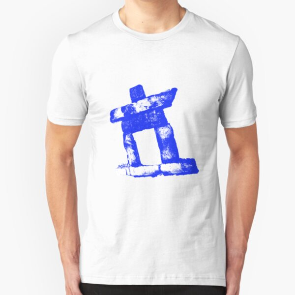 Canada rock man -BLUE- Slim Fit T-Shirt