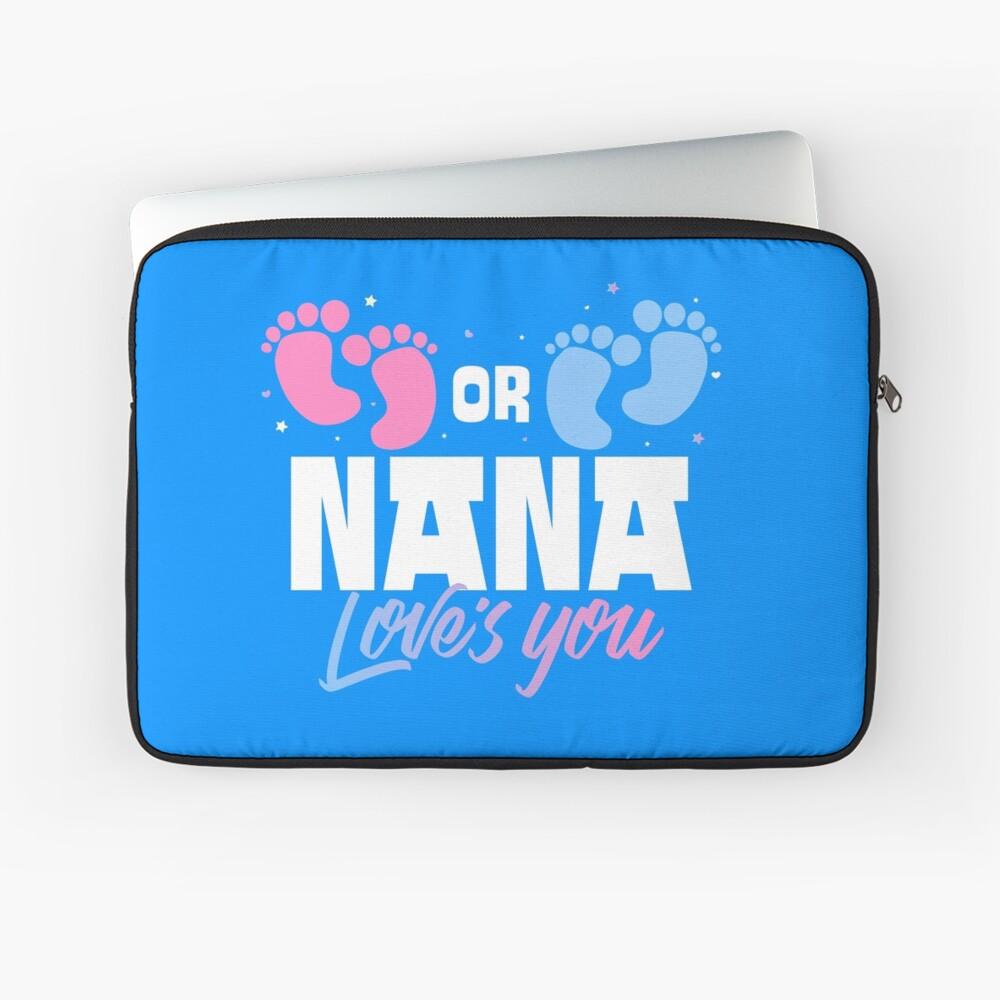 Pink or Blue Nana Loves You Gender Reveal Laptop Sleeve