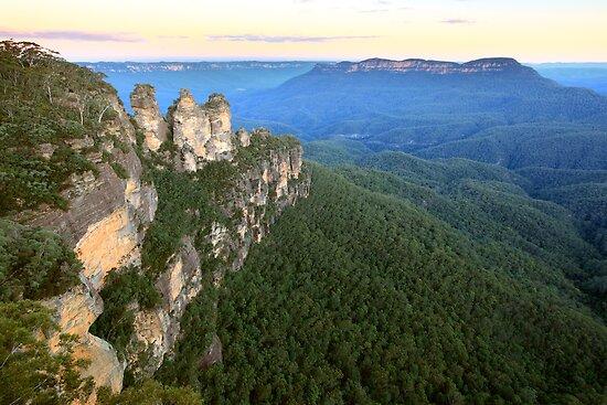 Three Sisters Twilight, Blue Mountains, Australia by Michael Boniwell