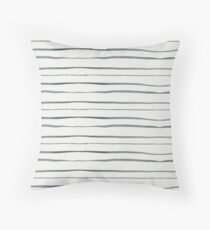 Hand painted white gray watercolor striped pattern Floor Pillow