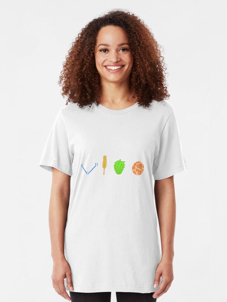 Alternate view of Water, Barley, Hops, Yeast Slim Fit T-Shirt