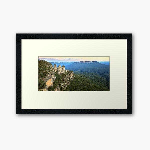 Three Sisters Twilight, Blue Mountains, Australia Framed Art Print
